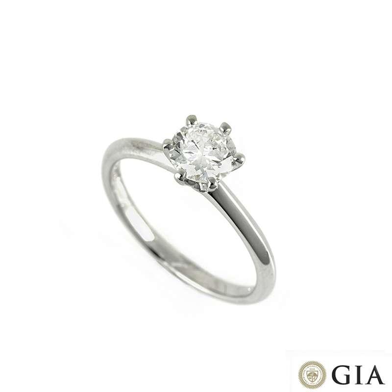 18k White Gold Round Brilliant Cut Diamond Ring 0.74ct I/SI1